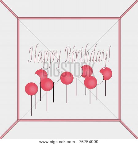Pink and White Happy Birthday Cake Top