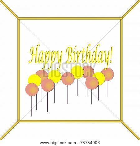 Yellow and Rose Happy Birthday Cake