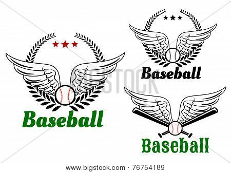 Baseball emblems with angel wings