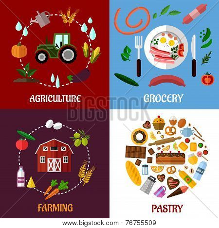 Creative food products concept flat infographics design
