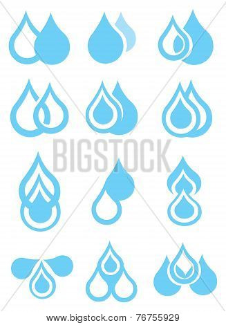 Blue Water Droplets Vector Icon Set