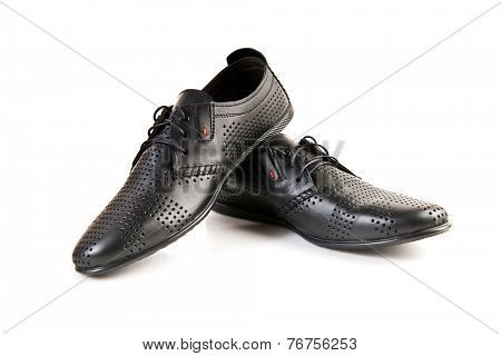 Black leather men's shoes on white