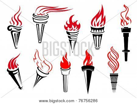 Vintage flaming torches set