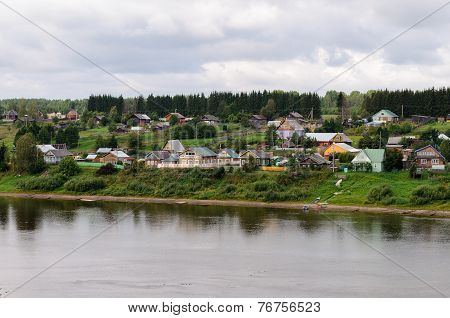 Small Russian Village On Sukhona River