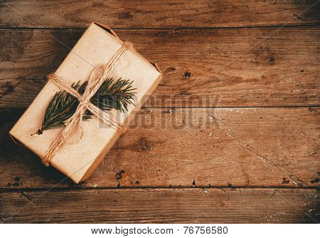 Eco Gift Box With Fir-tree Branch, Copy-space