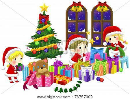 Cute Little Elves Are Celebrating Christmas In Isolated Background, Create By Vector