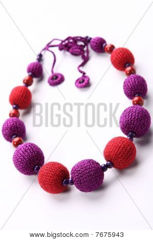 Red and purple crocheted bead necklace