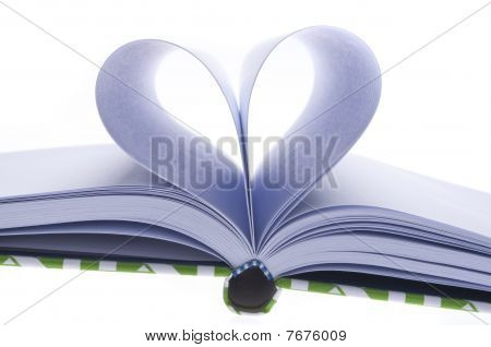 Blank Journal With Pages Folded In A Heart Shape
