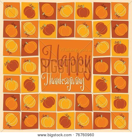 Bright Mosaic Thanksgiving Card In Vector Format.