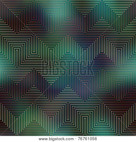 Computer Grid Matrix pattern on dark green blurred background.