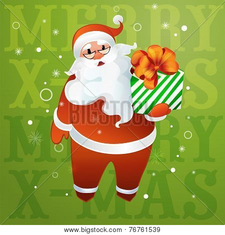 Santa Claus In Glasses With A Gift In Their Hands
