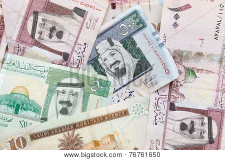 Saudi Arabia Money, Banknotes Background Texture