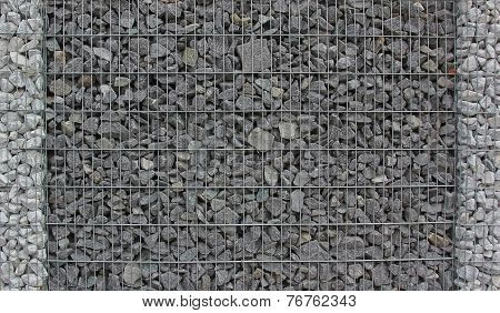 Gabion Fence Filled With Granite Stones