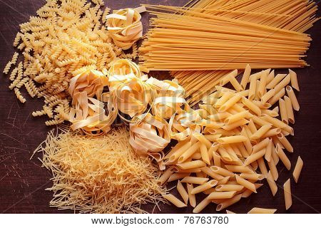 Many types of pasta for background
