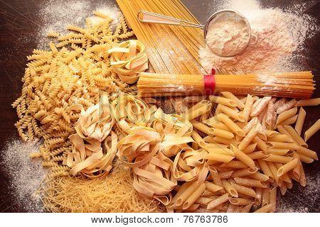 Dry pasta background