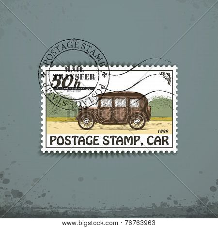 Postage stamp with retro car