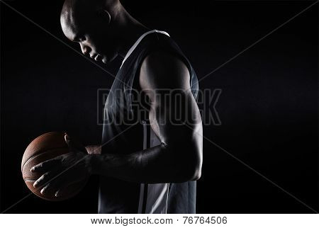 African American Basketball Player With Ball