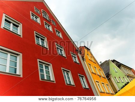 A row of colorful houses in Ellwangen, Germany