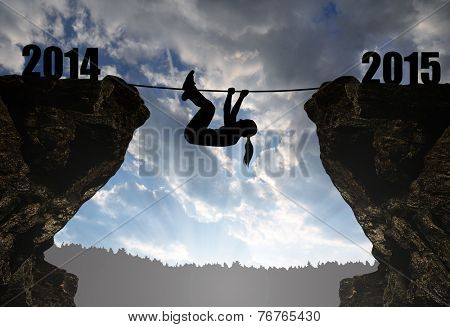 Girl climbs into the New Year 2015