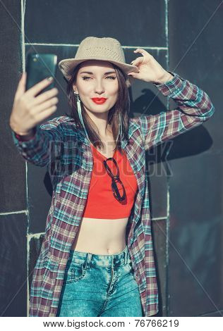 Beautiful Girl Taking Picture Of Herself, Selfie