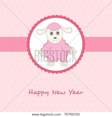 Kiddish greeting card design with cute cartoon of sheep for year of the sheep 2015 celebrations.