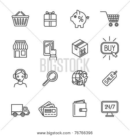 Shopping e-commerce icons set flat outline