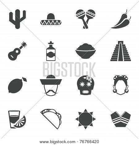 Mexico black icons set