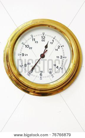 Clock, Classic Gold Rimmed Wall Clock