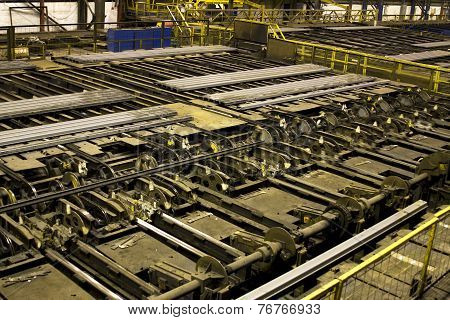 Steel bar automatic handling facility.
