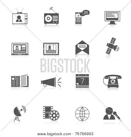 Media icons black set