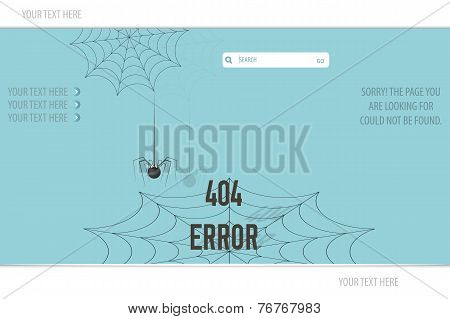 Page Not Found Error 404, vector illustration spider and cobweb