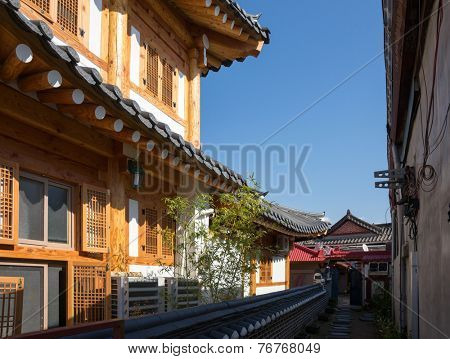 traditional Korean Hanok village houses and cottages in Jeonju, South Korea