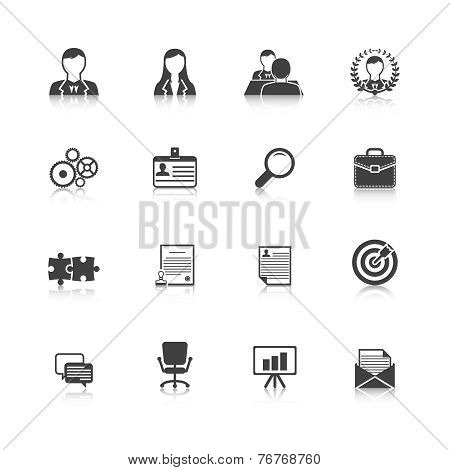 Human resources black icons set