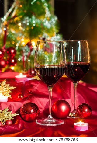 Wine And Decorations For Christmas