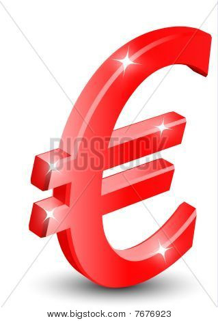 3D red euro sign