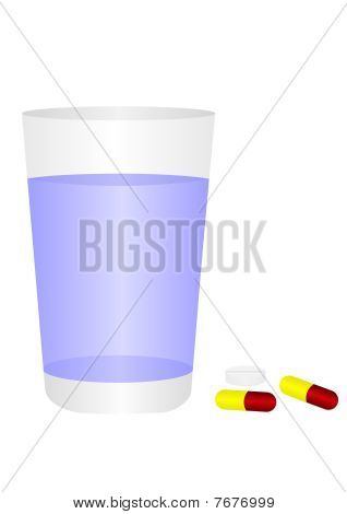 Glass of water and pills, isolated on white background