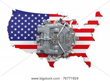 Bank Vault Door and USA Map