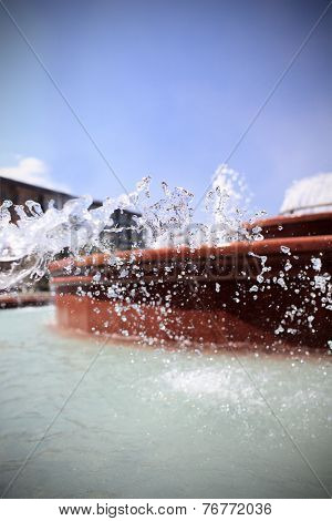 Summer Fountain And Macro Photos Of Water Splashes