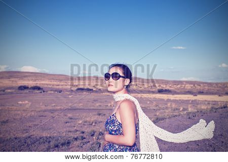 Pregnant Woman And The Desert