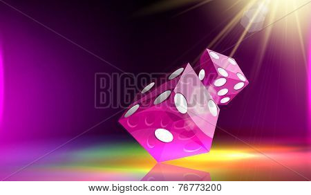 Two Purple dice cubes reflection