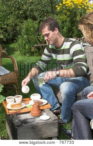 Coffee and tea in the garden
