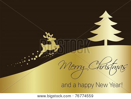 Vector Golden Christmas Tree with Reindeer