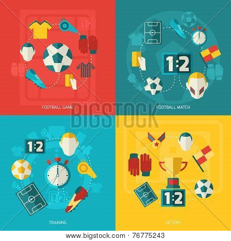 Soccer icons flat