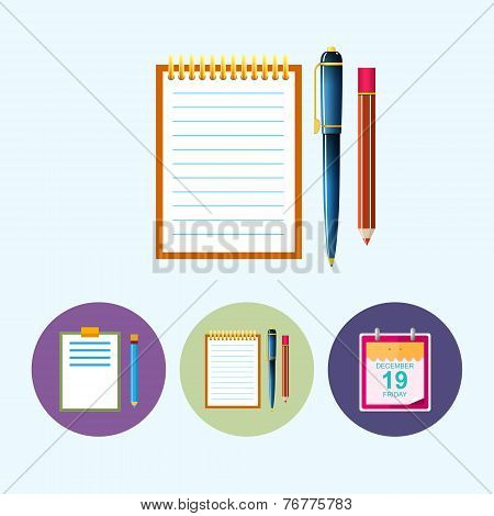 Set Icons With Clipboard , Notebook , Calendar Leaf, Vector Illustration