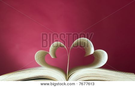 Opened Book And Heart Shape