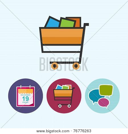 Set Icons With  Calendar Leaf, Cart , Speech Bubble, Vector Illustration