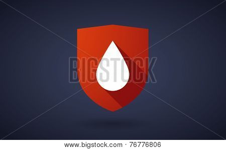 Long Shadow Shield Icon With A Blood Drop