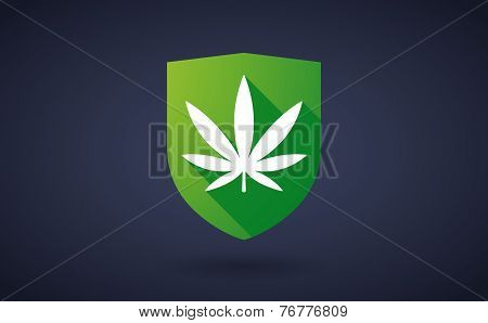 Long Shadow Shield Icon With A Marijuana Leaf