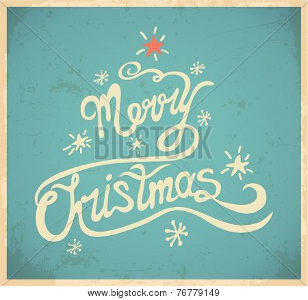 Merry christmas and lettering. Vector illustration.