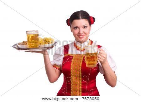 German/bavarian Woman With Beer